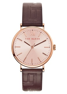 Ted Baker London Phylipa Leather Strap Watch, 37mm