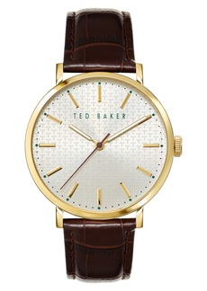 Ted Baker London Phylipa Leather Strap Watch, 41mm