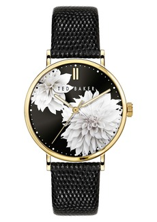 Ted Baker London Phylipa Peonia Leather Strap Watch, 37mm
