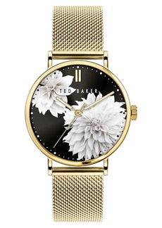 Ted Baker London Phylipa Peonia Mesh Strap Watch, 37mm