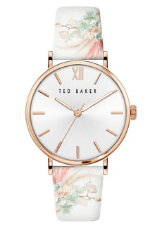 Ted Baker London Phylipa Serendipity Floral Leather Strap Watch, 37mm