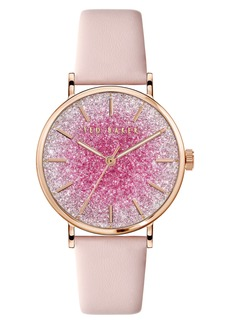 Ted Baker London Phylipa Shine Glitter Dial Leather Strap Watch, 37mm