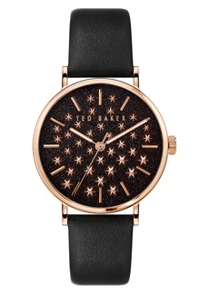 Ted Baker London Phylipa Shine Star Dial Leather Strap Watch, 37mm