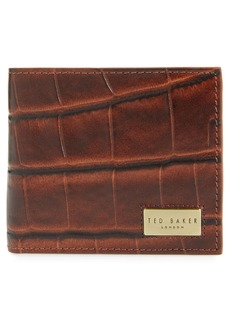 Ted Baker London Pinpong Croc Embossed Bifold Leather Wallet