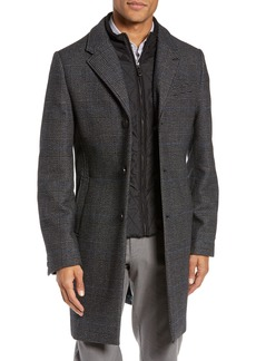 Ted Baker London Plaid Stretch Wool & Cotton Overcoat