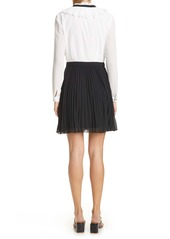 Ted Baker London Pleated Tie Neck Long Sleeve Minidress