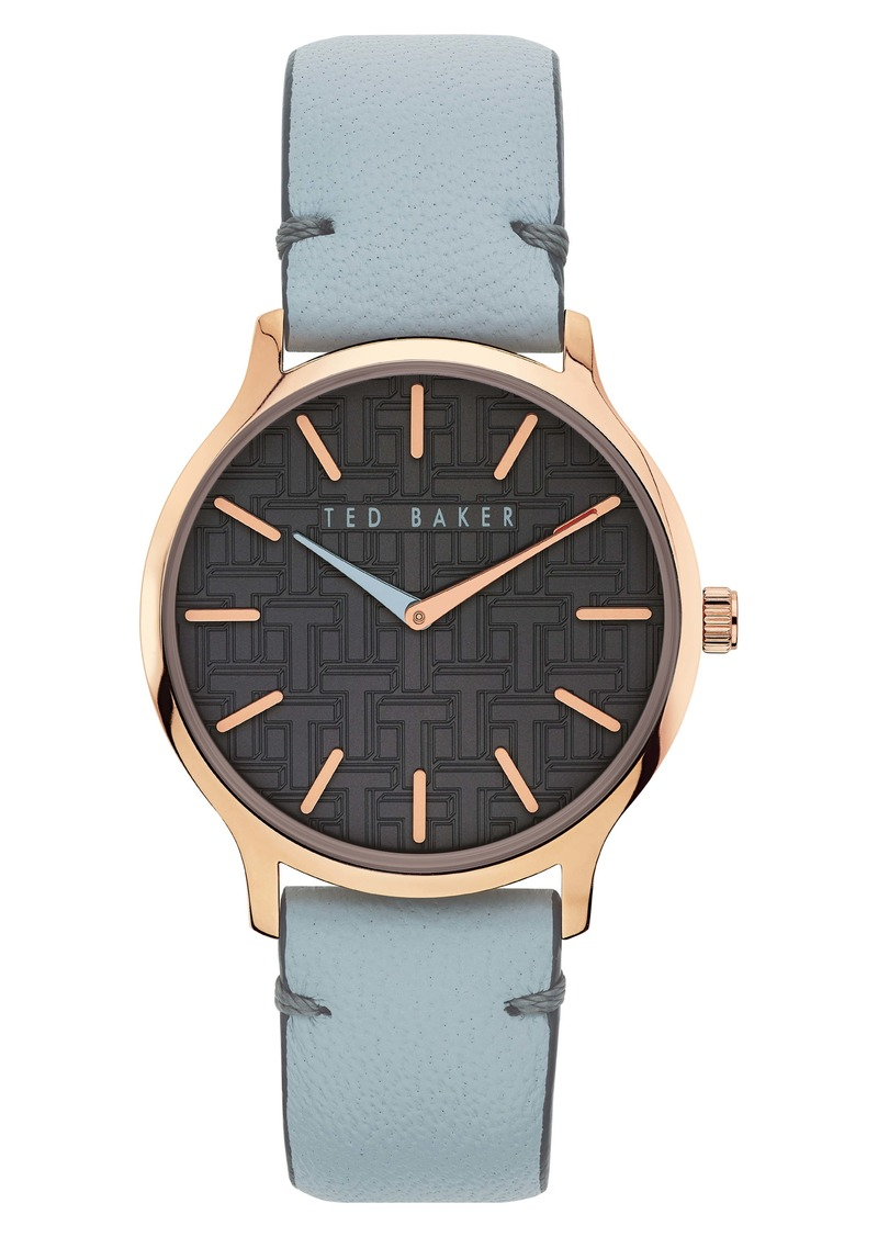 Ted Baker London Poppiey Leather Strap Watch, 38mm