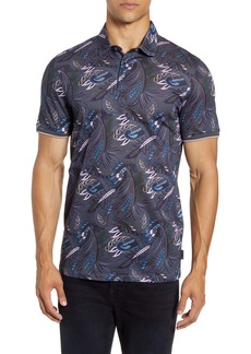 Ted Baker London Print Short Sleeve Knit Polo