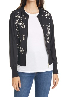 Ted Baker London Priyaa Floral Embroidery Zip Front Jacket