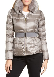 Ted Baker London Puffer Jacket with Faux Fur Collar