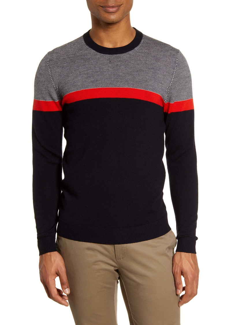 Ted Baker London Pushit Slim Fit Colorblock Crewneck Sweater