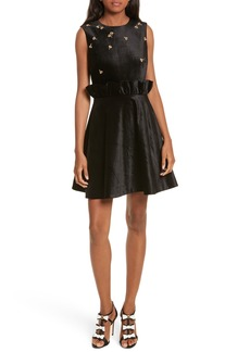 Ted Baker London Queen Bee Ruffle Waist Dress