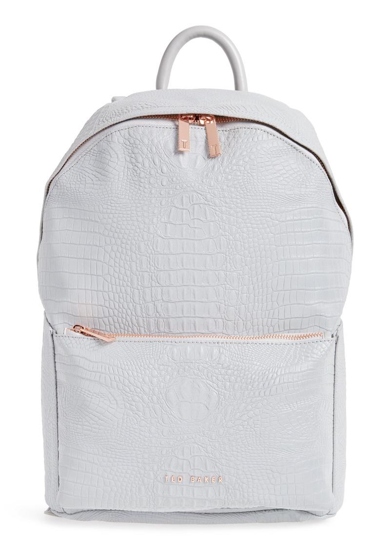 8512cd1af96e Ted Baker London Rahri Reflective Croc Embossed Faux Leather Backpack