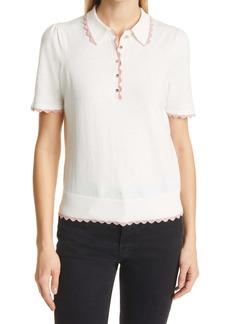 Ted Baker London Reilliy Scallop Cotton & Silk Blend Sweater