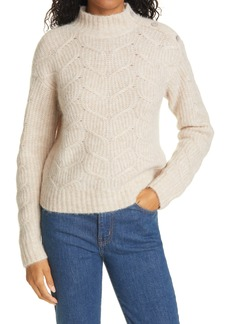 Ted Baker London Rhinestone Button Wool & Alpaca Blend Cable Sweater