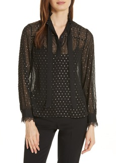 Ted Baker London Riaa Joyous Metallic Dot Blouse