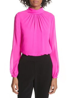 Ted Baker London Ruched Silk High Neck Blouse