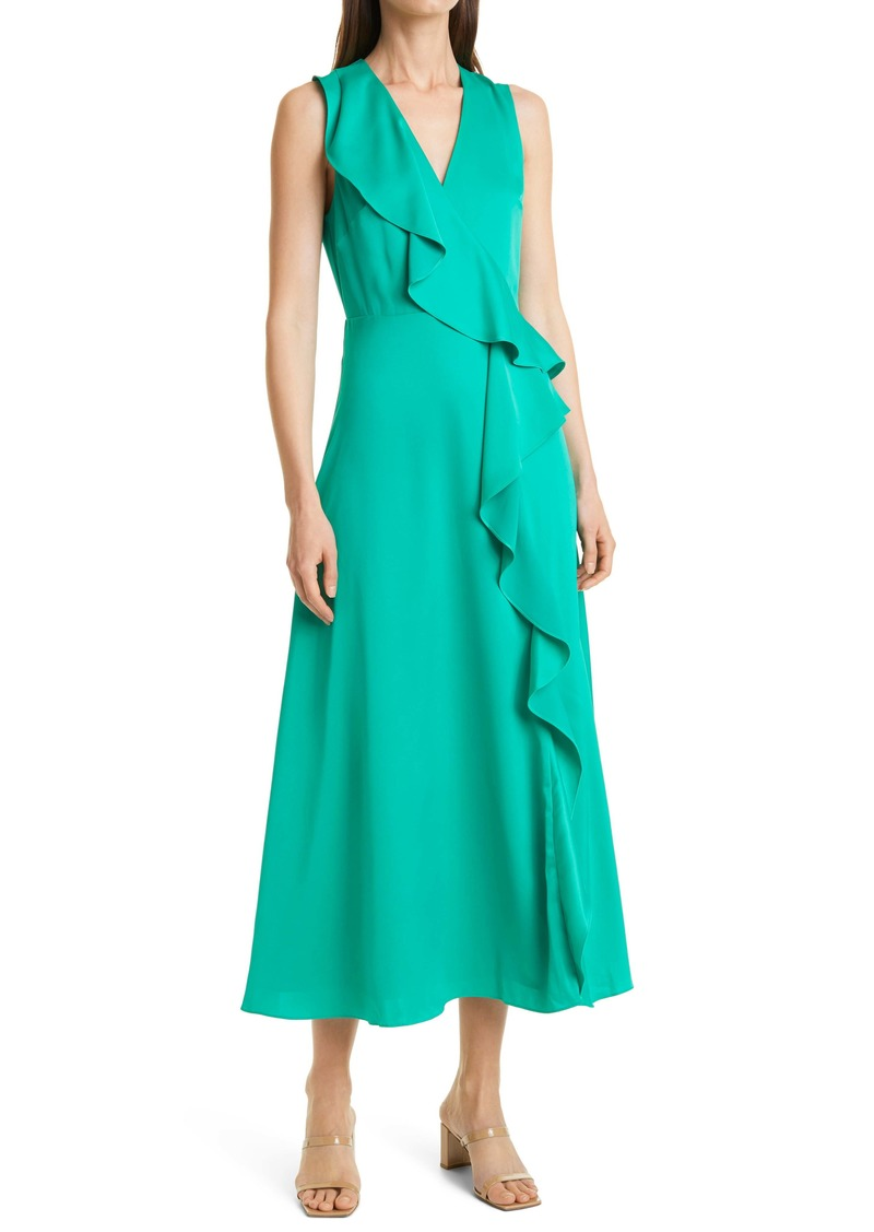 Ted Baker London Ruffle Detail Stretch Satin Midi Dress