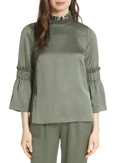 Ted Baker London Myani Ruffle Hammered Satin Top
