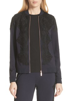 Ted Baker London Sadiet Lace Trim Bomber Jacket