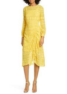 Ted Baker London Safa Long Sleeve Ruched Burnout Lace Dress