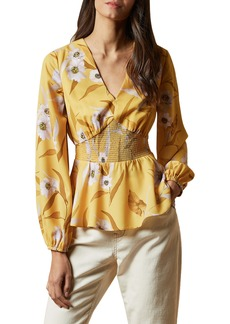 Ted Baker London Saniyah Cabana Smocked Blouse