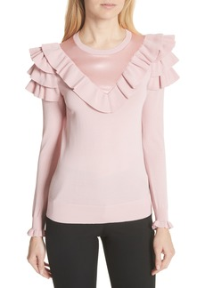 Ted Baker London Satin Contrast Ruffle Sweater