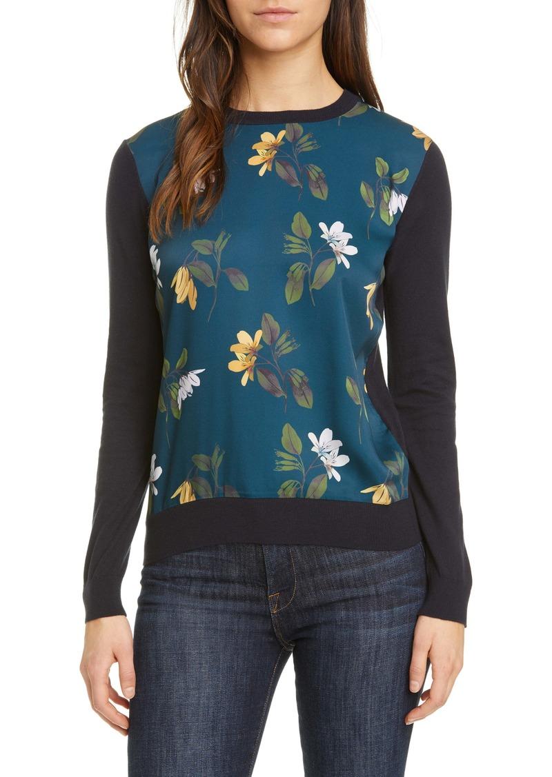 Ted Baker London Savanna Floral Mix Media Sweater