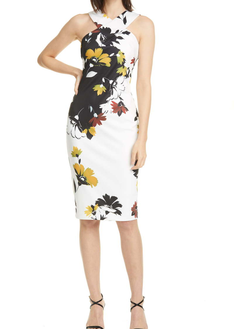 Ted Baker London Savanna Floral Twist Detail Halter Neck Sheath Dress