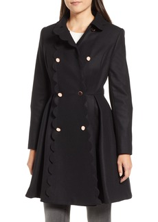 Ted Baker London Scallop Trim Wool Blend Coat