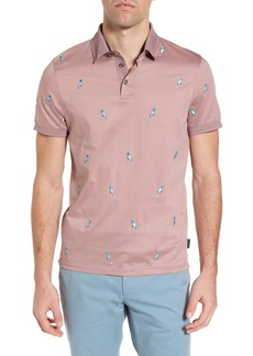 Ted Baker London Scraffy Trim Fit Cockatoo Embroidered Polo