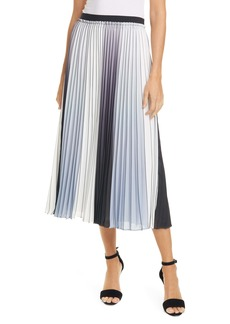 Ted Baker London Selmma Pleated Stripe Silk Skirt