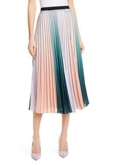 Ted Baker London Selmma Stripe Pleat Midi Skirt