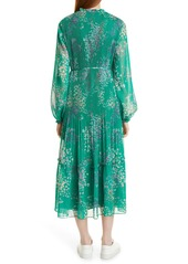 Ted Baker London Serendipity Floral Metallic Micropleated Long Sleeve Dress