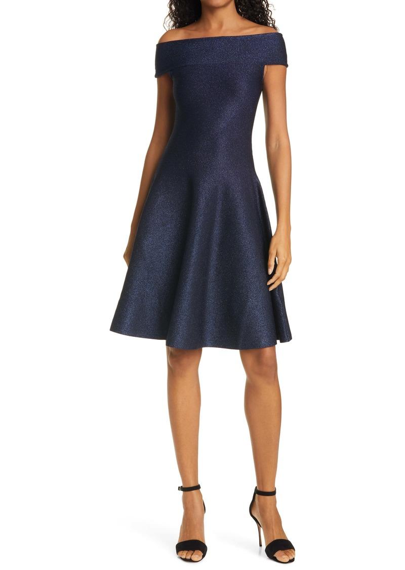 Ted Baker London Shelbiy Off the Shoulder Sparkle Knit Skater Dress