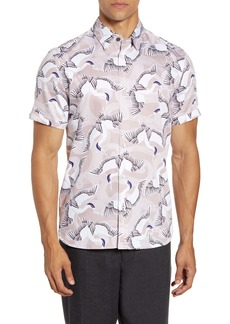 Ted Baker London Slim Fit Bird Print Short Sleeve Button-Up Shirt