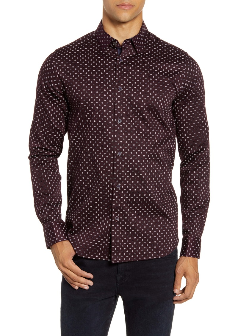 Ted Baker London Slim Fit Diamond Print Button-Up Shirt