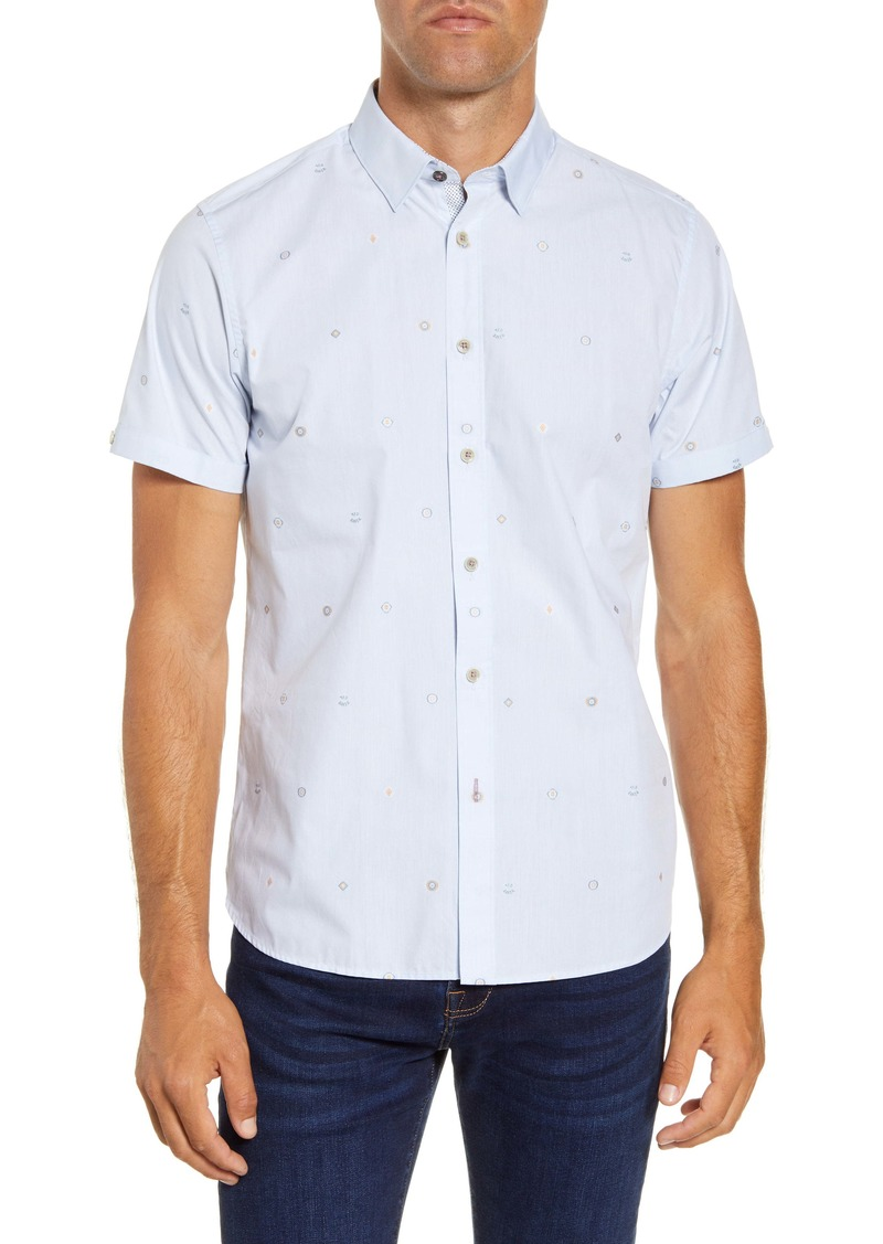 Ted Baker London Slim Fit Embroidered Short Sleeve Button-Up Shirt