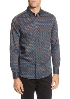 Ted Baker London Slim Fit Geo Print Button-Up Shirt