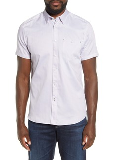 Ted Baker London Slim Fit Geo Print Short Sleeve Button-Up Shirt