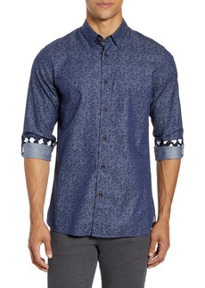 Ted Baker London Slim Fit Indigo Palm Print Button-Up Shirt