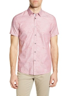 Ted Baker London Slim Fit Leaf Jacquard Short Sleeve Button-Up Shirt