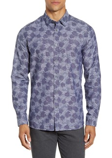 Ted Baker London Slim Fit Palm Jacquard Button-Up Shirt