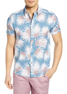 Ted Baker London Slim Fit Palm Print Short Sleeve Button-Up Sport Shirt