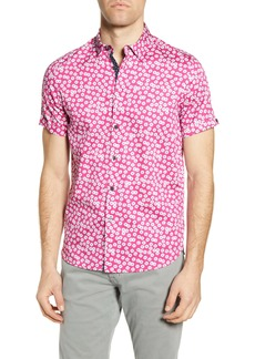 Ted Baker London Slim Fit Petal Print Short Sleeve Button-Up Shirt