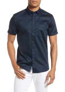 Ted Baker London Slim Fit Short Sleeve Button-Down Sateen Sport Shirt