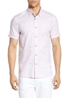 Ted Baker London Slim Fit Short Sleeve Piqué Button-Up Shirt
