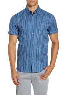 Ted Baker London Slim Fit Triangle Print Short Sleeve Button-Up Shirt