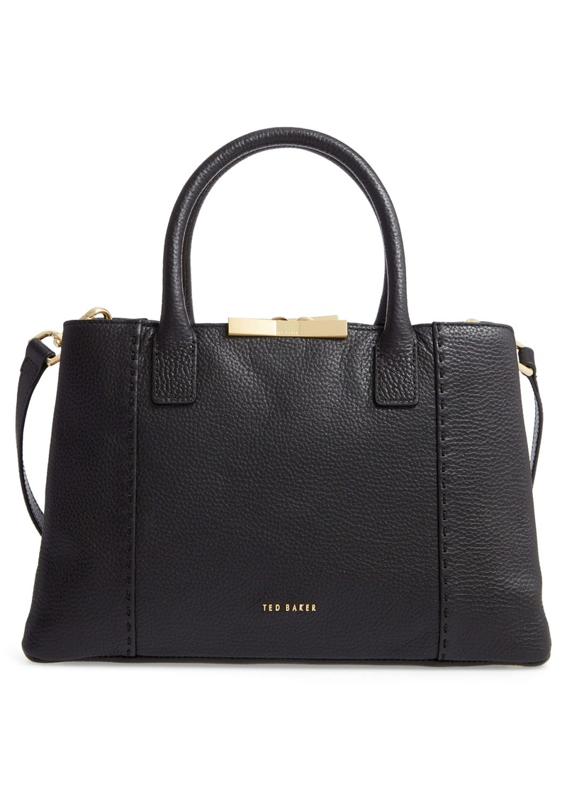 Ted Baker London Small Colesa Faceted Bar Soft Grain Leather Tote