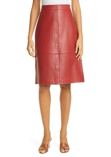 Ted Baker London Snap Front Leather Pencil Skirt